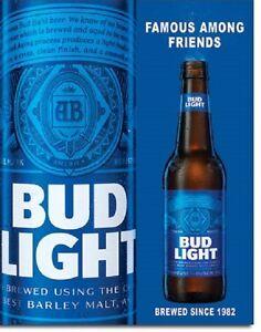 Bud Light Anheuser Busch Budweiser Famous Friends Logo Wall Decor Metal Sign