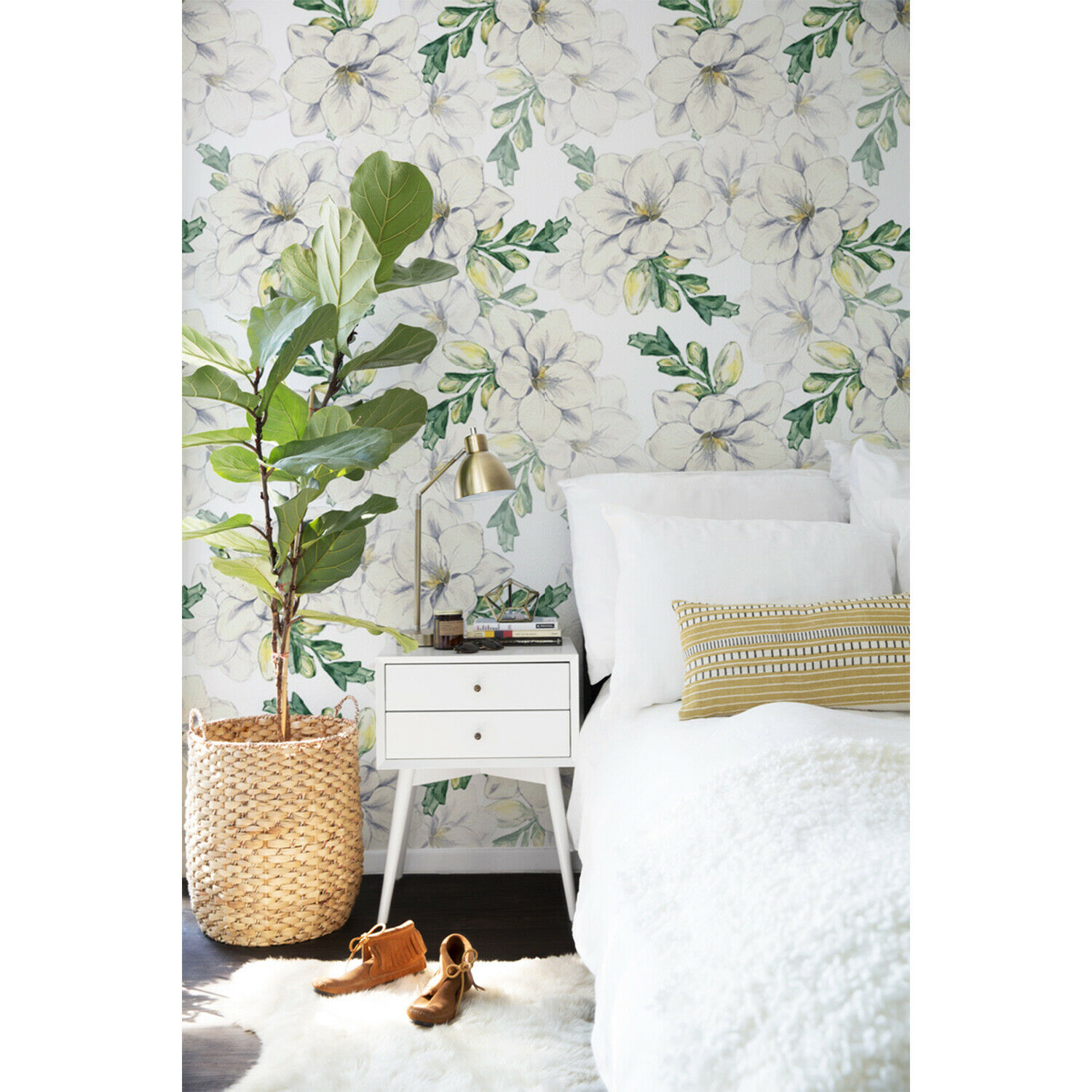 Freesia decor Flowers self-adhesive mural Leaves removable wallpaper