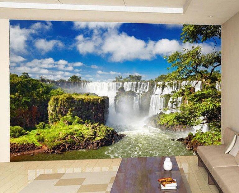 Waterfall Nature Tree bluee Sky Photo Wallpaper Wall Mural Home Bedroom Deco