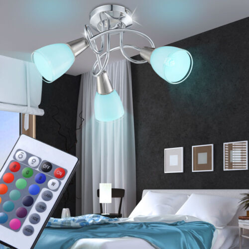 LED Decken Leuchte Chrom RGB Fernbedienung Wohn Zimmer Glas Strahler dimmbar