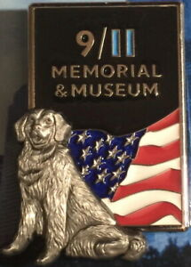 9-11-MEMORIAL-PIN-3D-Pewter-RESCUE-DOG-with-USA-Flag-SEPTEMBER-11-2001-911-NYPD