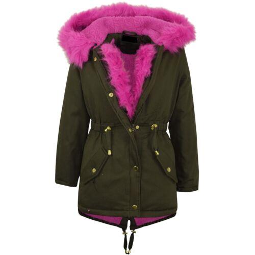 Damen Parkajacke Rosa Rainbow Pelzrand Meerjungfrau-Linie Kapuzenjacke Jacken