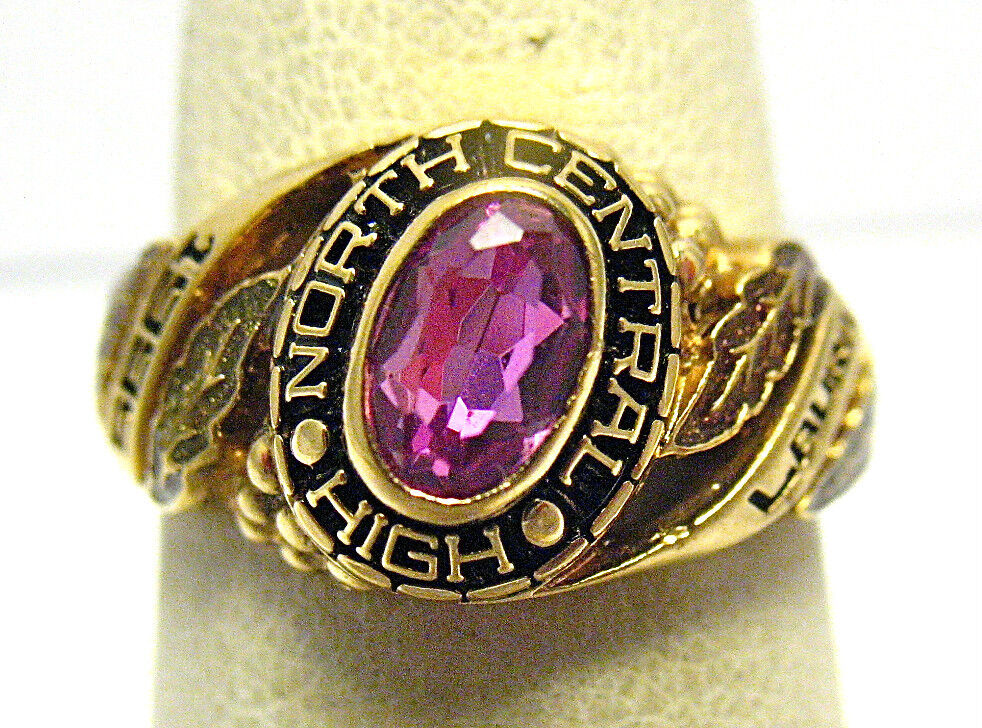 gold NORTH CENTRAL HIGH SCHOOL RING SIZE 6 PINK STONE 1995  LAURA  SYBOLL