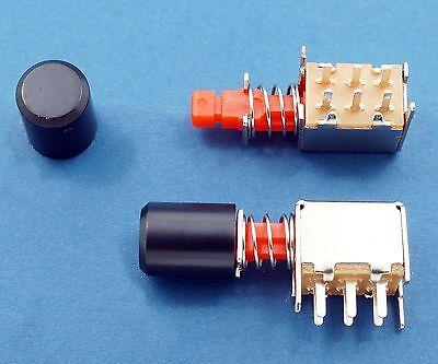8, DPDT Push Button Slide Switch Latching (lock) w Knob Cap 30V 1A