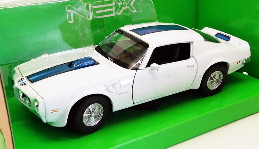 para proporcionarle una compra en línea agradable Welly 1 24-27 24-27 24-27 Scale 24075W - 1972 Pontiac Firebird Trans Am - blanco azul  tienda de venta en línea