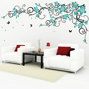 Image Is Loading Butterfly Vine Flower Vinyl Wall Art Stickers 077