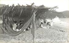 Vintage Real Photo PC; Acapulco Gro. Beach Hammocks, Hamacas en pie de la Cuesta