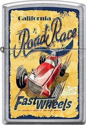 Zippo California Fast Wheels Road Race Poster Street Chrome WindProof Lighter