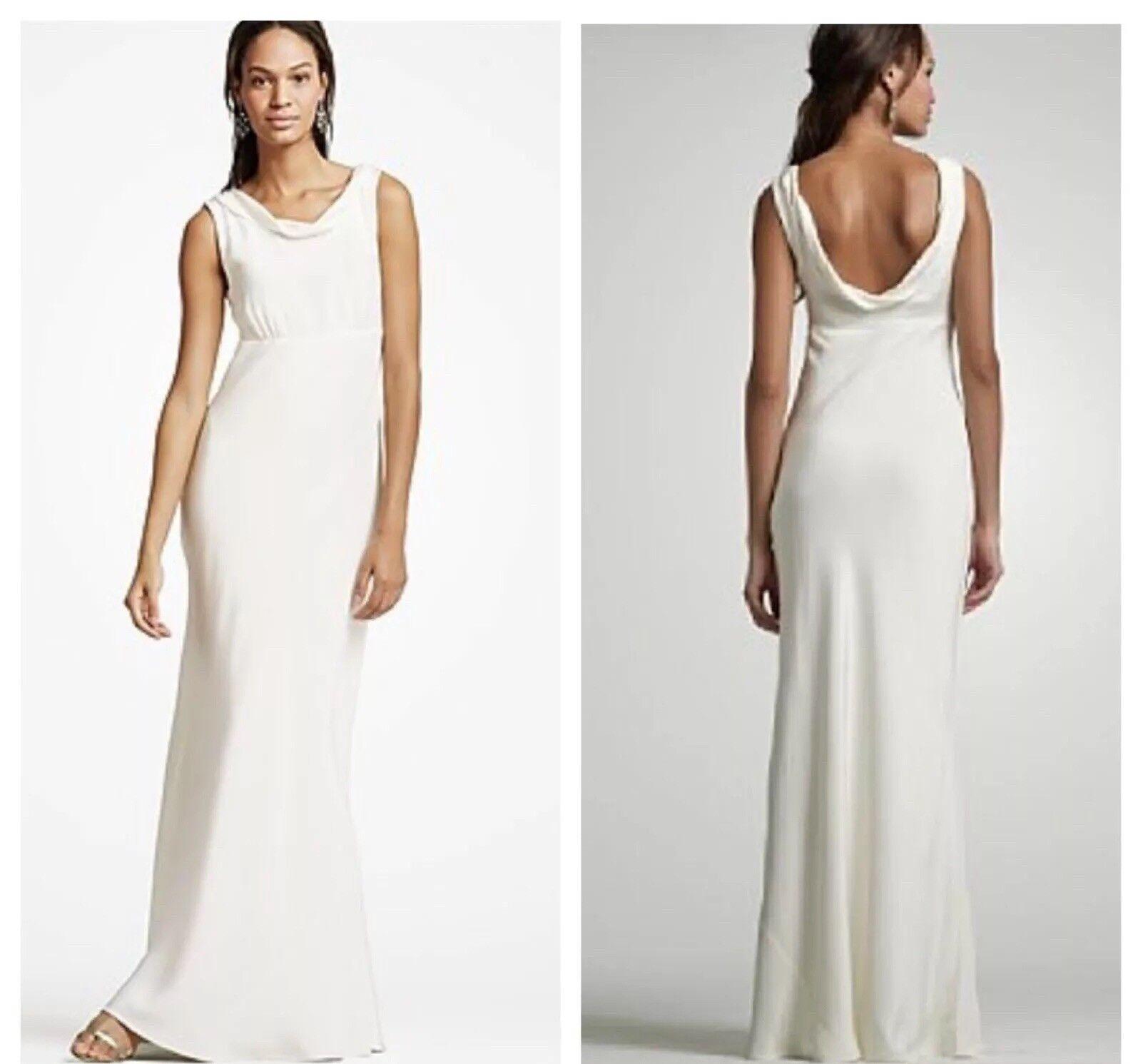 new j.crew hope gown wedding dress sz 2 ivory sleeveless 100% silk elegant  19848