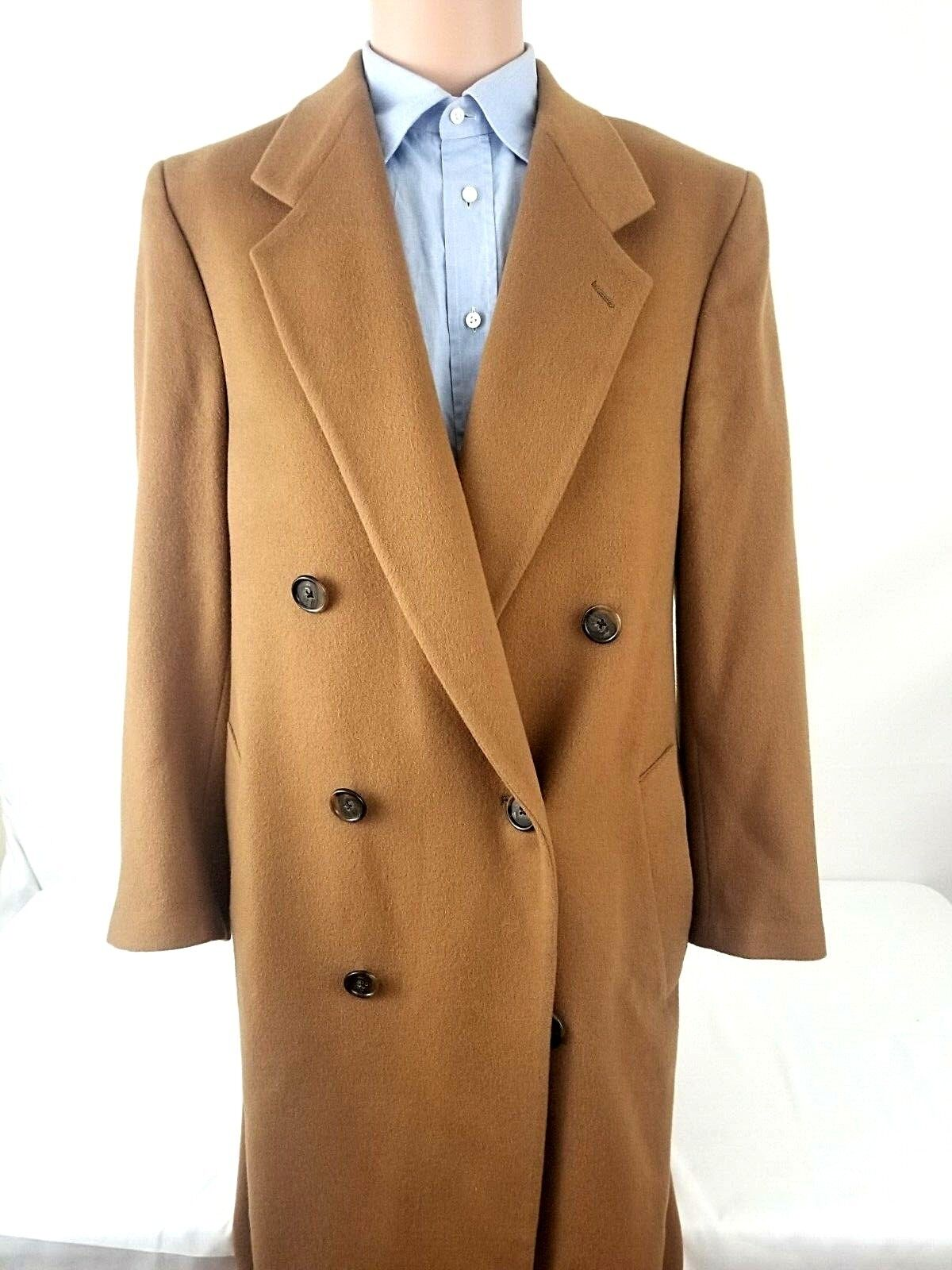 Saks Fifth Avenue Mens Overcoat Lgold Piana 100% Lamnswool Brown Topcoat 40R