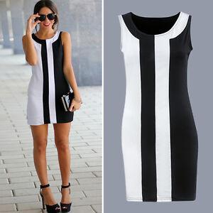 Damen-Armellos-Minikleid-Bodycon-Kleid-Gestreift-Longshirt-Ballkleid-Partykleid