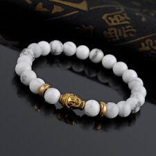 White beaded marble buddha head bracelet gold charm stretch high quality cute