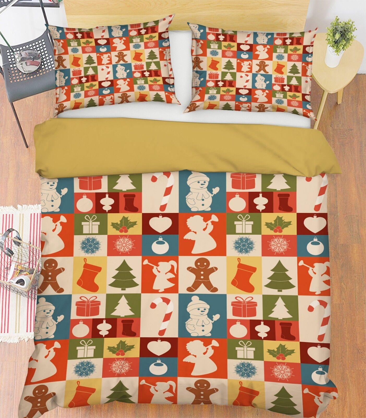 3D Weihnachten  Xmas 673 Bett Kissenbezüge steppen Duvet Decken Set Single DE