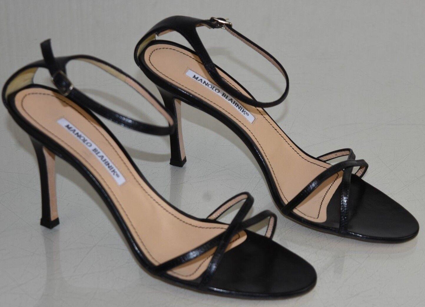 765 Nueva Manolo Blahnik Sandalias De Tiras Cuero Tacón Negro Correa De Tobillo Zapatos 40
