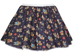 Ladies-Navy-Blue-Cute-Teddy-Bear-15-034-Printed-Skater-Skirt-Fancy-Dress