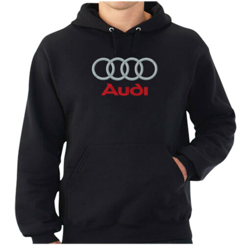 AUDI LOGO EMBROIDERED CLASSIC HOODIE WORK OUTDOOR SPORT BIRTHDAY GIFT