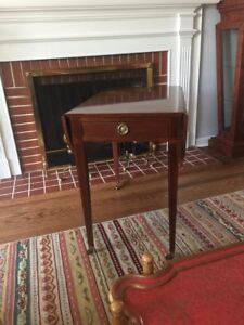 Baker Furniture Drop Leaf Side Table Game Table W Brass Casters