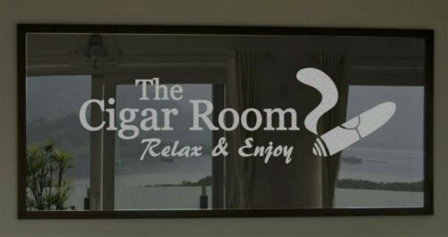 Cigar Room Bar Silver Frosted Etched Glass Vinyl Wall Quote Sticker Decal