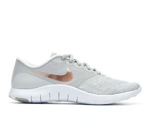 NIB Women s Nike Flex Contact Running Shoes Sneakers Grey Rose Gold ... 614eee633e