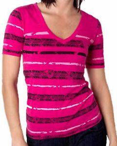 eba778a99 METAL MULISHA Women's Pink Striped Thread V-Neck Short Sleeve ...