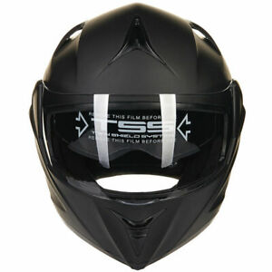 Matte-Black-Motorcycle-Modular-Flip-Up-Dual-Visor-Adult-Full-Face-Helmet-M-L-XL