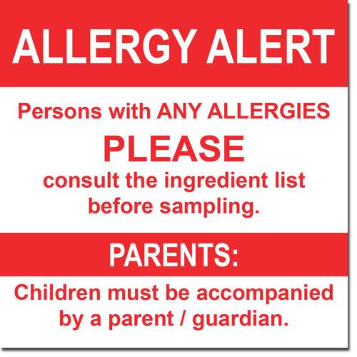"Allergy Alert Sign 8/"" x  8/"""