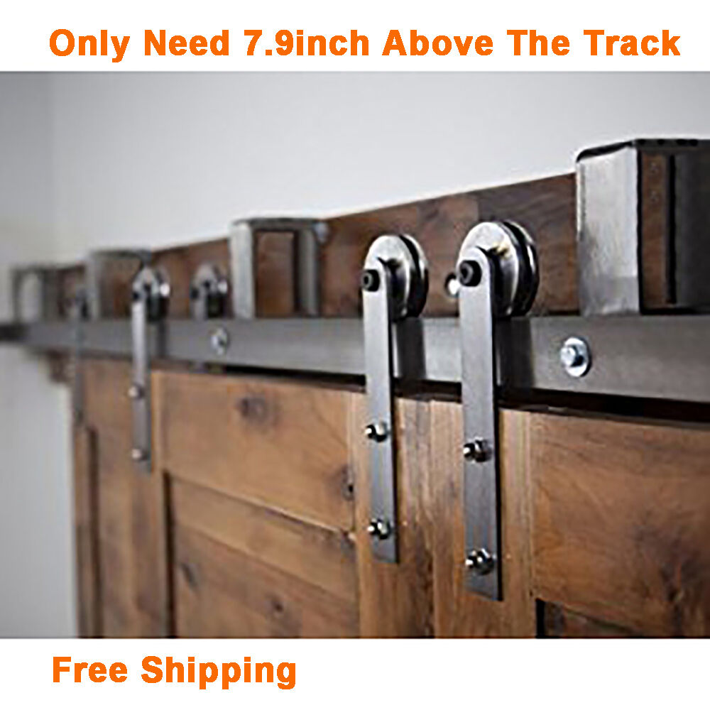 5-16FT Rustic New Bypass Sliding Barn Wood Door Hardware Closet Kit i Style