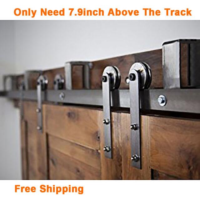 5 16FT Rustic New Bypass Sliding Barn Wood Door Hardware Closet Kit I Style