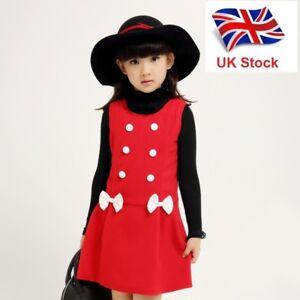 UK-Seller-New-Xmas-Pretty-Elegant-Girls-Kids-Party-Sleeveless-Dress-4-9-Years
