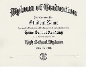 Details About Custom Home School Diploma Your Home Or Private School Professional Printing