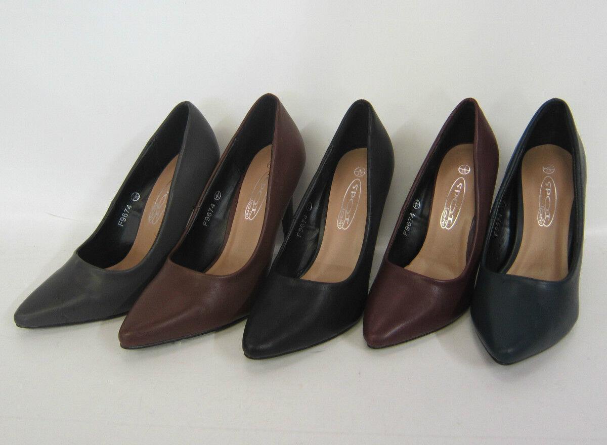 Mujeres Puntera Piel Sintética Zapatos De Salón Estilo - f9674