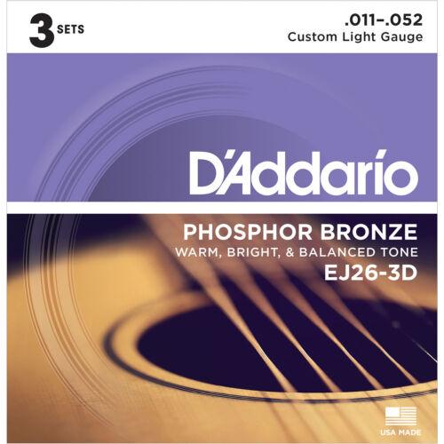 3 PACK D/'ADDARIO EJ26-3D CUSTOM LIGHT PHOSPHOR BRONZE ACOUSTIC GUITAR STRINGS