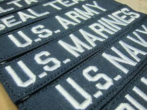 Blue White letters Chest Tapes Custom name Tapes ARMY Embroidery Patch