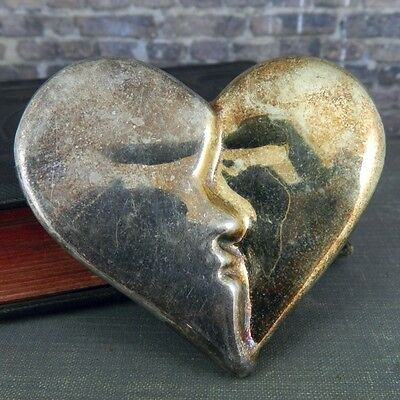 Large Two Face Heart Pin in Sterling Silver - Made in USA