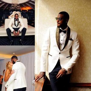 02b105132e3c Image is loading White-Black-Mens-Wedding-Suits-Slim-Bridegroom-Jacket-