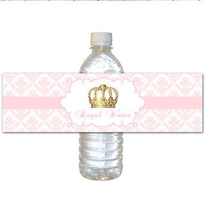 25 Gold Crown Pink Princess Water Bottle Labels Wrappers Birthday