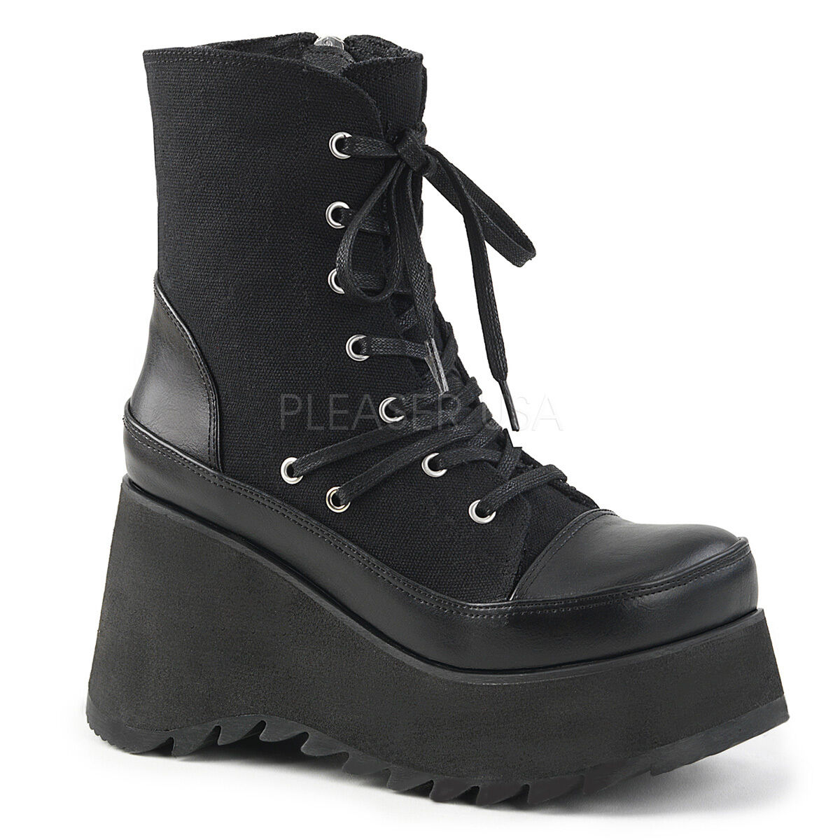 SCENE-50 3 1 2   BIKER GOTH COMBAT CANVAS LACE UP WEDGE PLATFORM ANKLE HIGH BOOT