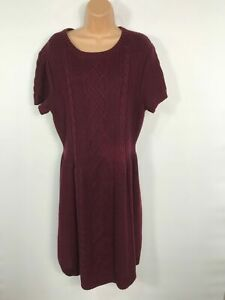 WOMENS-TOMMY-HILFIGER-MAROON-PURPLE-KNITTED-SHORT-SLEEVED-JUMPER-DRESS-SIZE-XL