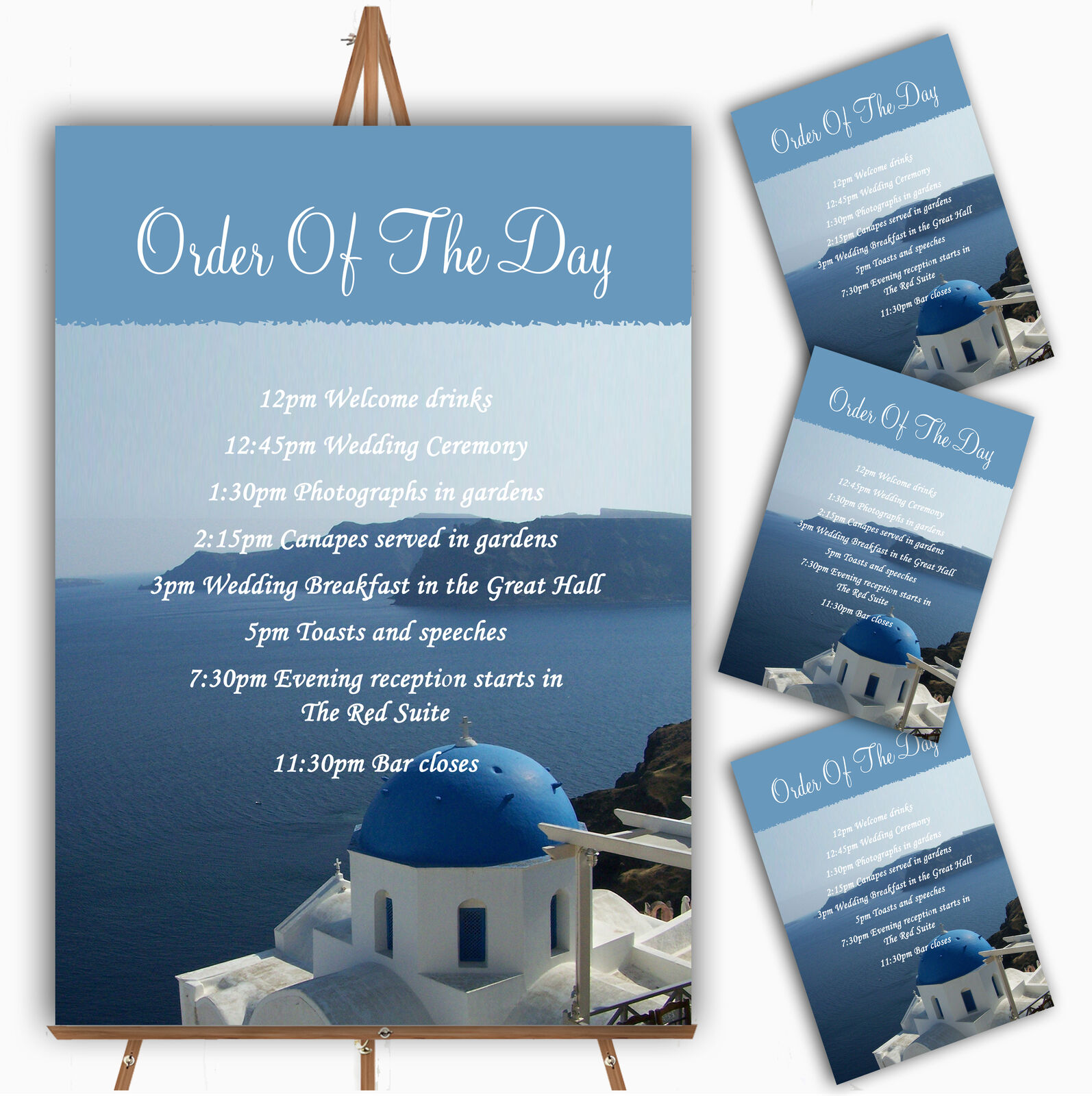 Greece Santorini Personalised Wedding Order Of The Day Cards & Signs