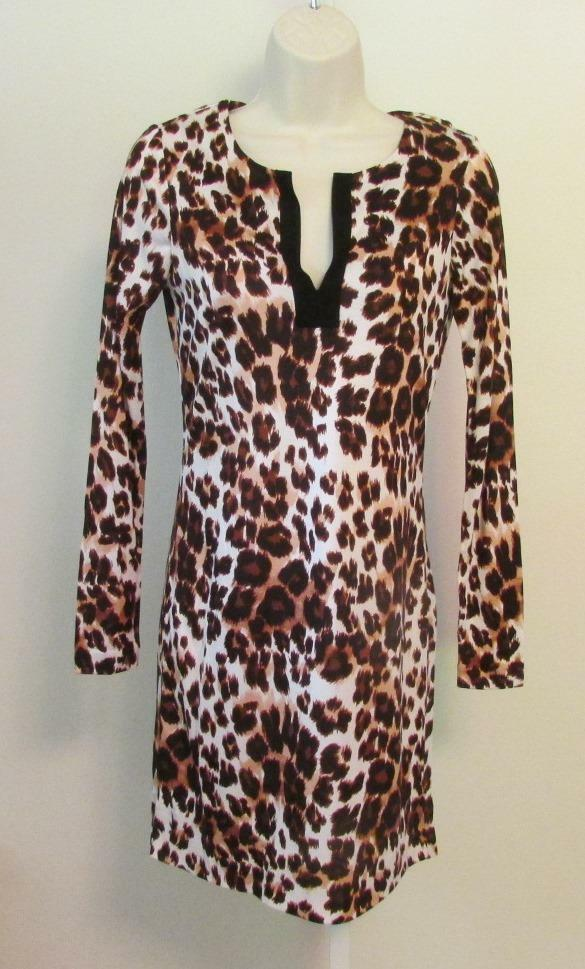 Diane von Furstenberg Reina Snow Cheetah Large Neutral tunic dress 10 braun DVF