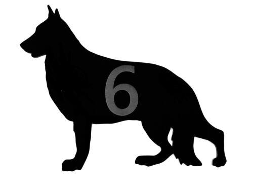 Perro de Pastor Alemán Puerta Letrero para Número de Casa Placas en Negro