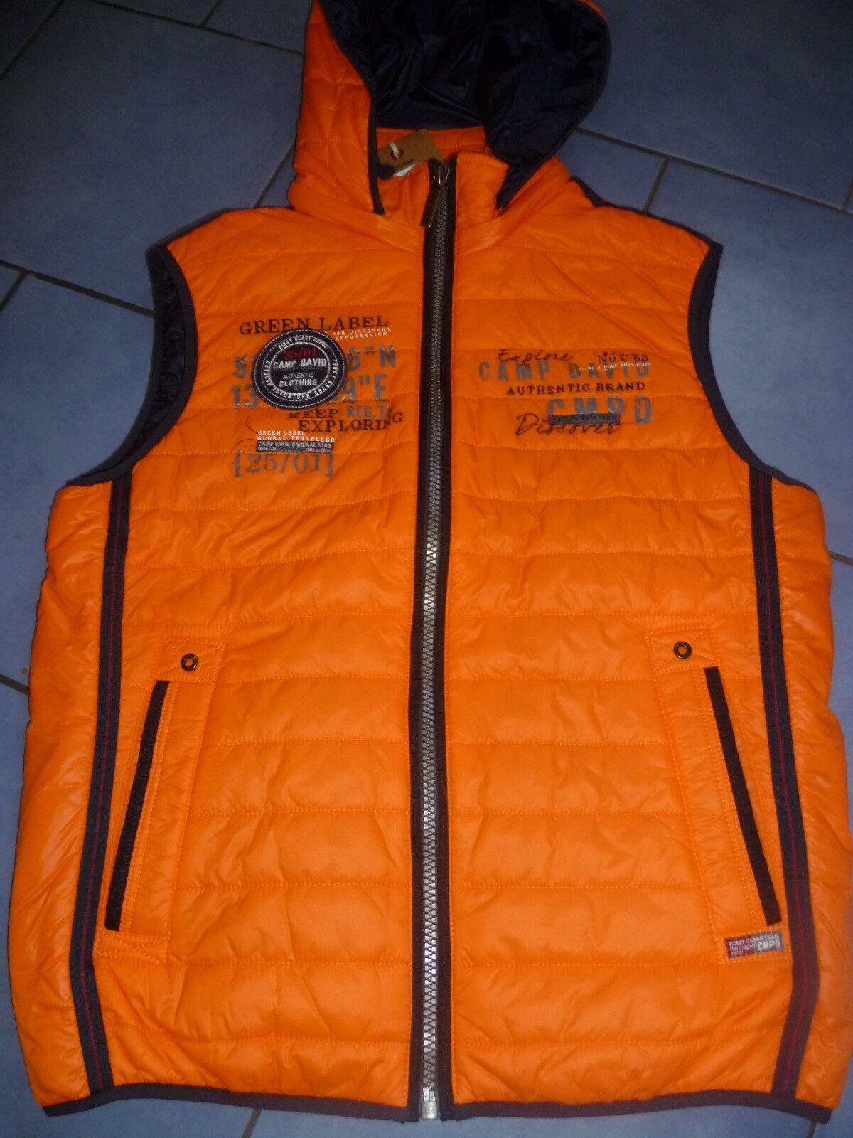 Top nuevo señores hombres Al aire libre  chaleco acolchado con capucha naranja camp david talla m  ¡No dudes! ¡Compra ahora!