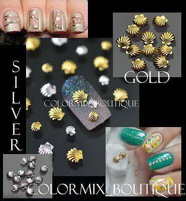 50pcs 3mm 5mm Gold Silver 3D Metallic Shell Slices Nail Art Tips DIY Decoration