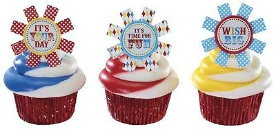 12 RINGS party CARNIVAL theme CIRCUS favors CUPCAKE cake POPS birthday PINWHEEL