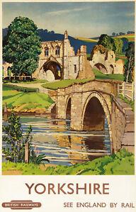 TU8-Vintage-Yorkshire-Kirkham-Abbey-Railway-Travel-Poster-Re-Print-A4