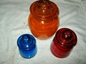 A-Set-of-3-Retro-70-039-s-Candy-Multi-Coloured-Glass-Apothecary-Daisy-Lidded-Jars
