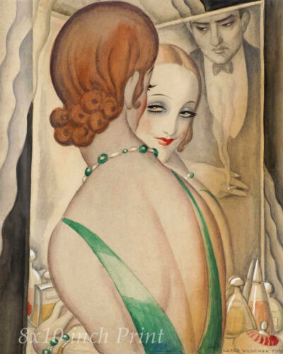 Woman Man Smoke 8x10 Print Picture 1723 At the Mirror by Gerda Wegener