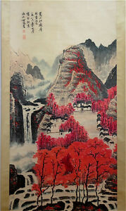 Excellent-Chinese-100-Hand-Painting-amp-Scroll-Landscape-By-Li-Keran-FM108A