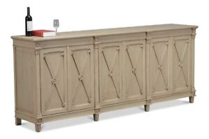 96-034-W-Arrow-Sideboard-Large-6-Door-Cabinet-Hand-Crafted-Solid-Pine-Grey-Finish