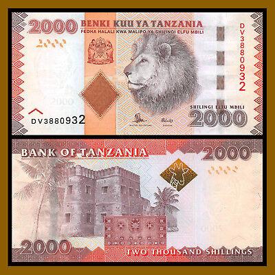 Tanzania 2000 Shillings 2010-2015 P-42 Lion Unc Shilingi